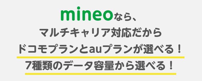 mineo 「docomo」「au」の2回線から選べる マルチキャリア