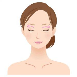 女性顔イラスト 上瞼矢印