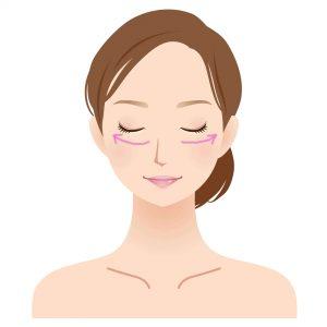 女性顔イラスト 下瞼矢印