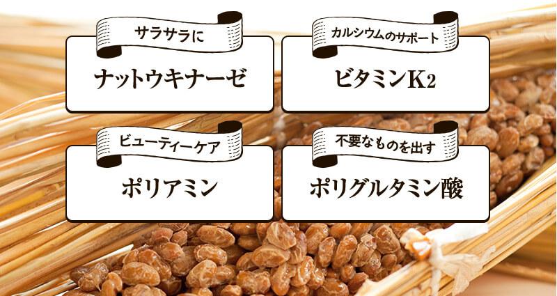 納豆独自の有用成分で吸収率アップ